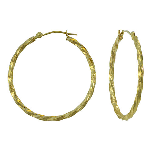 14K Yellow Gold  28mm Textured Hoop Earrings