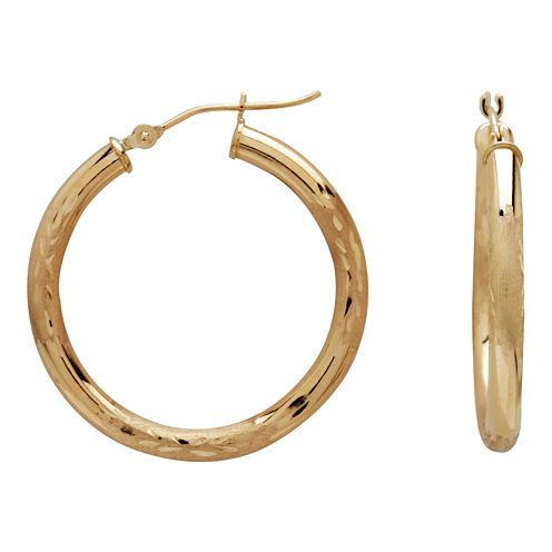28mm 14K Gold Satin Diamond-Cut Hoop Earrings