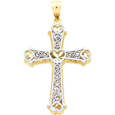 jcpenney.com | 14K Two-Tone Gold Heart Cross Pendant