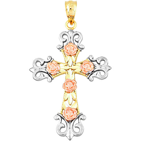 14K Tri-Tone Gold Floral Cross Charm