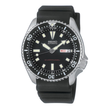 jcpenney.com | Seiko® Mens Black Dial Rubber Band Automatic Dive Watch SKX173