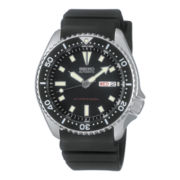 Seiko® Mens Black Dial Rubber Band Automatic Dive Watch