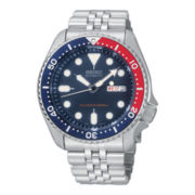 Seiko® Mens Black Dial Stainless Steel Automatic Dive Watch