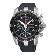 Seiko® Mens Sportura Rubber Strap Alarm Chronograph Watch