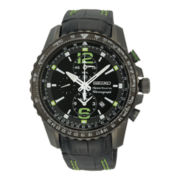 Seiko® Sportura Mens Black Leather Strap Chronograph Watch SNAE97
