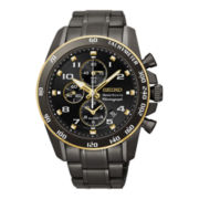 Seiko® Sportura Mens Black Stainless Steel Alarm Chronograph Watch