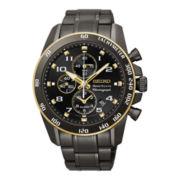 Seiko® Sportura Mens Black Stainless Steel Alarm Chronograph Watch