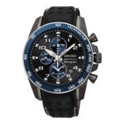 Seiko® Sportura Mens Black Leather Strap Chronograph Watch SNAF37