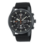 Seiko® Mens Sportura Nylon Strap Chronograph Watch