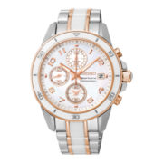 Seiko® Sportura Womens Stainless Steel and Ceramic Chronograph Bracelet Watch