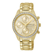 Seiko® Womens Sportura Stainless Steel Swarovski® Element Chronograph Watch