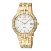 Seiko® Mens Silver-Tone Dial Gold-Tone Stainless Steel Solar Watch SNE030
