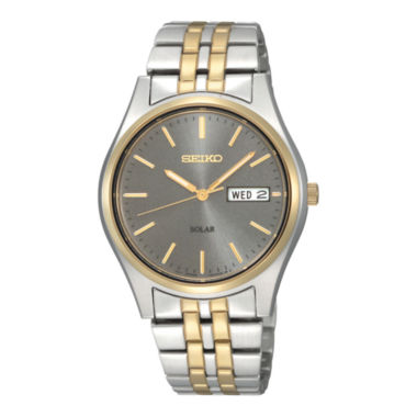 jcpenney.com | Seiko® Mens Gray Dial Two-Tone Stainless Steel Solar Watch SNE042