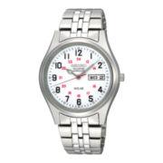 Seiko® Railroad Approved Mens Silver-Tone Stainless Steel Watch