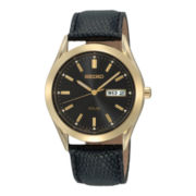 Seiko® Solar Mens Gold-Tone Leather Strap Watch