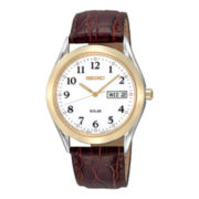 Seiko® Mens White Dial Brown Leather Strap Solar Watch