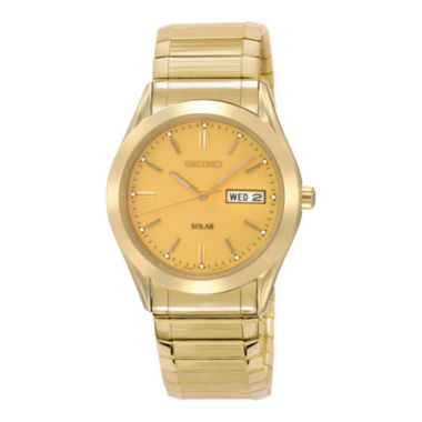 jcpenney.com | Seiko® Mens Champagne Dial Gold-Tone Stainless Steel Solar Watch SNE058