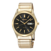Seiko® Mens Black Dial Gold-Tone Stainless Steel Solar Watch SNE060