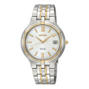 Seiko® Mens Two-Tone Stainless Steel Solar Watch SNE066