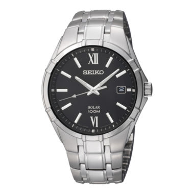 jcpenney.com | Seiko® Mens Black Dial Stainless Steel Solar Watch SNE215