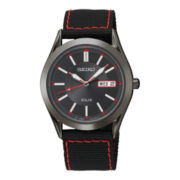 Seiko® Solar Mens Black Dial Red Stitch Watch