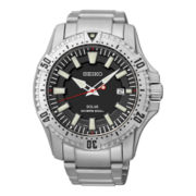 Seiko® Solar Mens Silver-Tone Stainless Steel Dive Watch