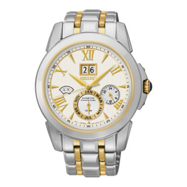 jcpenney.com | Seiko® Mens Kinetic Perpetual Two-Tone Watch SNP066