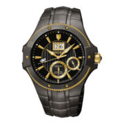 Seiko® Mens Kinetic Perpetual Black Stainless Steel Watch