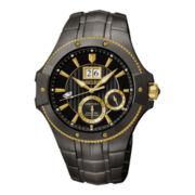 Seiko® Mens Kinetic Perpetual Black Stainless Steel Watch