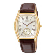Seiko® Mens Brown Leather Strap Watch