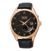 Seiko® Mens Black Leather Strap Kinetic Watch
