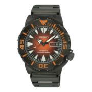 Seiko® Mens Orange Dial Black Stainless Steel Dive Watch