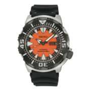 Seiko® Mens Orange Dial Black Stainless Steel Dive Watch