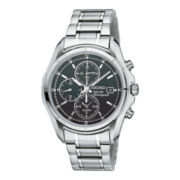 Seiko® Solar Mens Black Dial Stainless Steel Solar Chronograph Watch SSC001