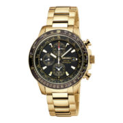 Seiko® Mens Black Dial Gold-Tone Stainless Steel Chronograph Solar Watch SSC008
