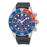 Seiko® Solar Mens Rubber Strap Chronograph Dive Watch