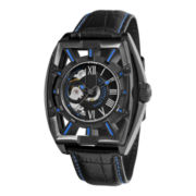 Stührling® Mens Leather Strap Blue Accent Automatic Skeleton Watch
