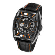 Stührling® Mens Leather Strap Orange Accent Automatic Skeleton Watch