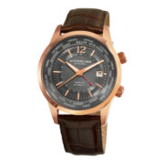 Stührling® Original Mens Brown Leather Strap World Time Automatic Watch