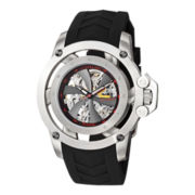 Stührling® Mens Black Rubber Propeller-Style Skeleton Automatic Watch