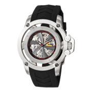 Stührling® Mens Black Rubber Propeller-Style Skeleton Automatic Watch