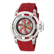 Stührling® Mens Red Rubber Propeller-Style Skeleton Automatic Watch
