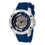 Stührling® Mens Blue Rubber Skeleton Automatic Watch