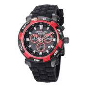 Stührling® Original Mens Black Silicone Strap Chronograph Watch