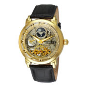 Stührling® Mens Gold-Tone Dual-Time Skeleton Automatic Watch