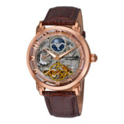 Stührling® Mens Rose Gold-Tone Dual-Time Skeleton Automatic Watch