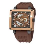 Stührling® Mens Brown Rubber Strap Square Case Skeleton Automatic Watch
