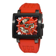 Stührling® Mens Red Rubber Strap Square Case Skeleton Automatic Watch
