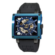 Stührling® Mens Black Rubber Strap Square Case Skeleton Automatic Watch
