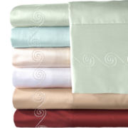 American Heritage 500tc Set of 2 Egyptian Cotton Embroidered Swirl Pillowcases